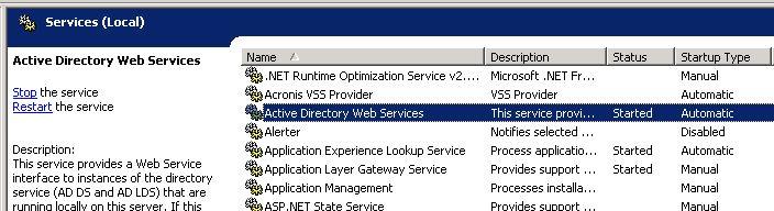 Active Directory Web Service
