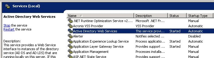 Active Directory Web Service