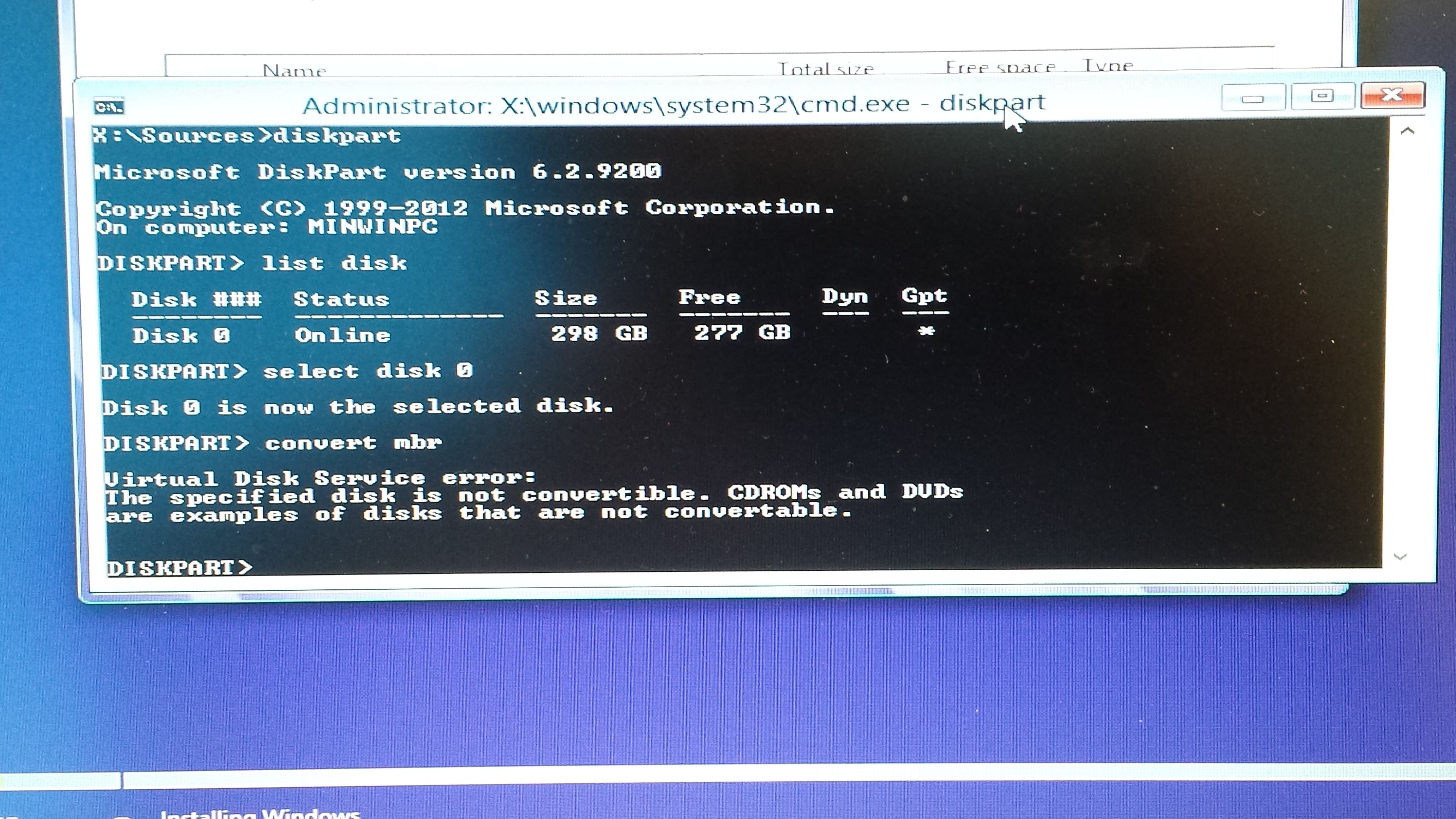 Windows cannot be installed to this disk, the selected disk